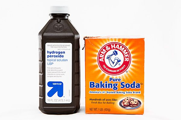 Mix baking soda with 3% hydrogen peroxide to form a paste.