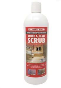 The Stone Pro Stone & Glass Scrub removes hard water stains from every natural stone surface.