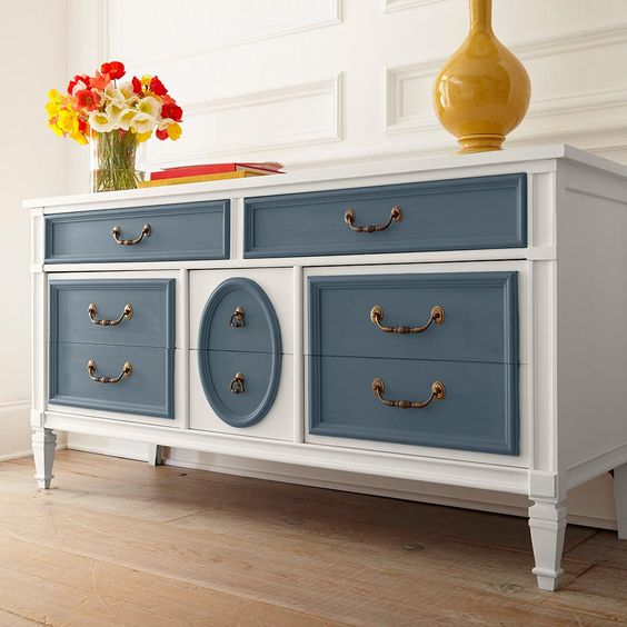 Navy blue and white chalk paint on dresser.