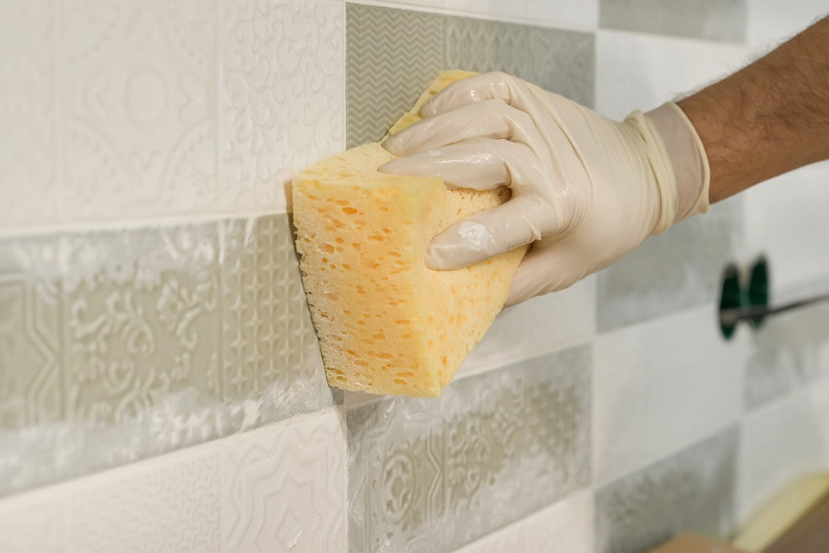 Epoxy grout on tiles.